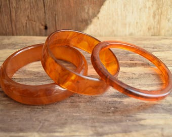 Rootbeer Bakelite Bangle Bracelets - You Pick - Marbled Amber Bakelite - Chunky Swirled Root Beer Bakelite