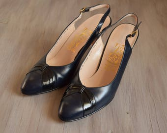 Navy & Black Ferragamo Sling Backs - Size 7 1/2 - 3 Inch Heels