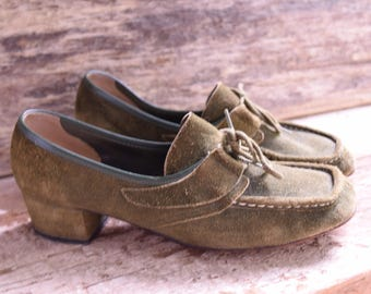 Green Suede Lace up heels - Size 7 - Green Loafers - women's loafer - Joyce California Vintage - Green Leather Heels