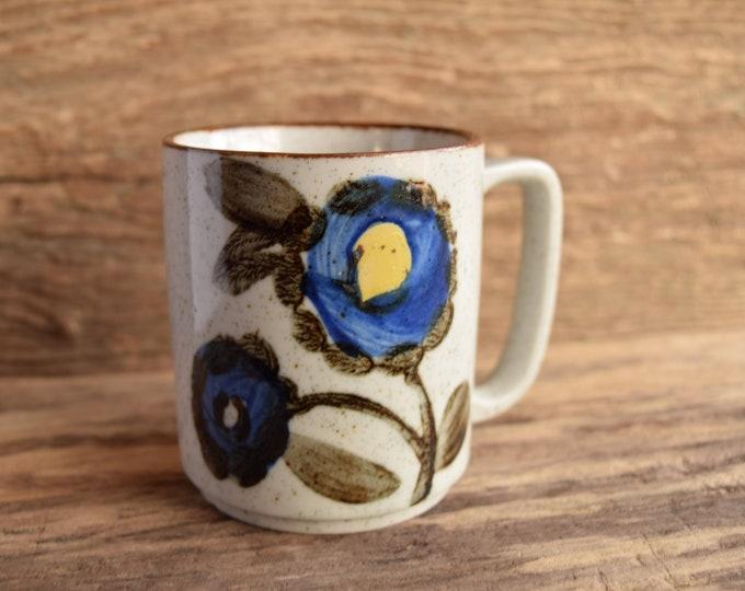 Hand Painted Flower Stoneware Vintage Mug