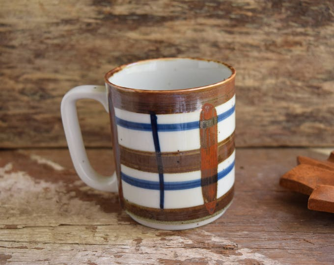 Mid-century Mug - Hand painted mug - Made In Japan - Plaid Mug - Coffee cup - ceramic tea cup - Stoneware mug, Coffee Mug, Vintage drinkware