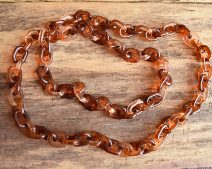 Brown + Peach Plastic Chain Link Necklace