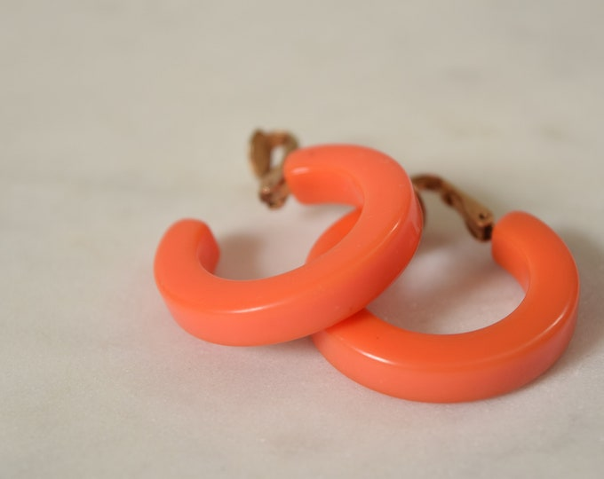 Pink Bakelite Hoop Clip Earrings  - Coral Pink