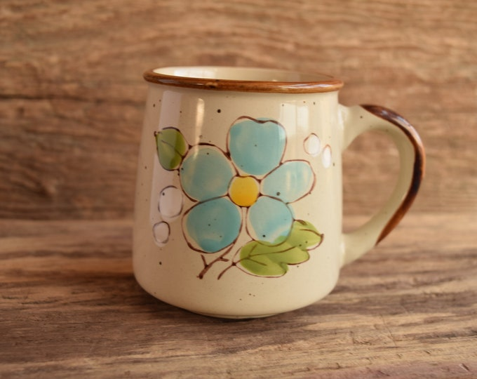 Light Blue Flower Stoneware Vintage Mug