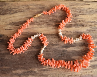 Pink Coral Branch and Baroque Pearl Necklace