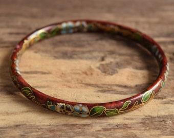 cloisonne bracelet - Red cloisonne bangle - Vintage cloisonne - Flower cloisonne bracelet - Vintage bangle bracelet - Asian Bracelet