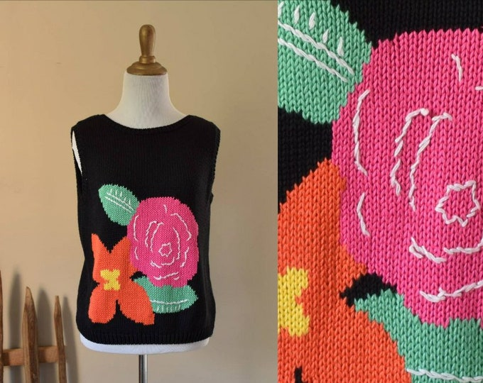 Flower Sweater Tank in Black - Medium Hand Loomed Knit