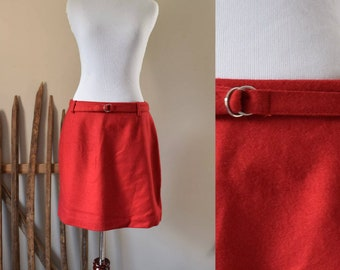 Red Wool Mini skirt - 90's Vintage