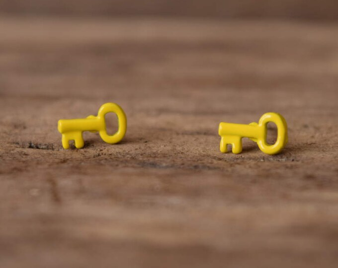 Yellow Key Earrings - Small earrings - Skeleton key studs, tiny yellow keys - small stud earrings, Kawaii earrings, vintage pierced earrings