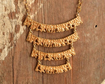 Gold Toned Ladder Necklace -  1970's Textured tiered necklace