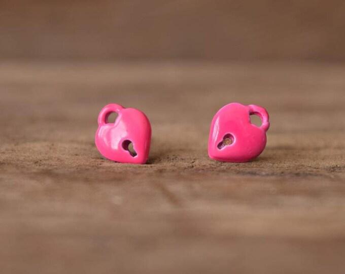 Heart Locket Earrings - Pink Heart studs - Kitschy heart locket stud earrings, kitsch heart earrings, neon pink earrings, pink stud earrings