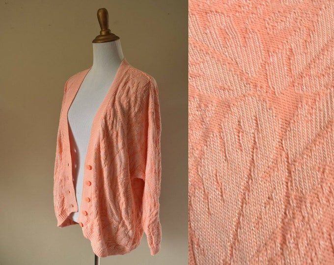 Coral Tropical Knit Slouchy Cardigan - United Colors of Benetton