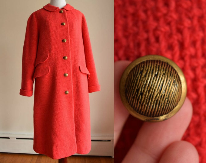 1960s Woven coral red Coat - Vibrant 60s Coat