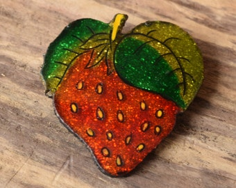 Glitter Strawberry Brooch - Vintage