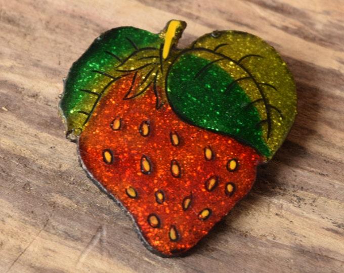 Glitter Strawberry Brooch - Vintage