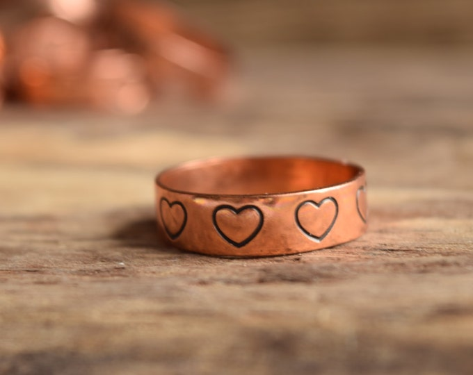 Heart Rings - Heart Stamped Copper Ring