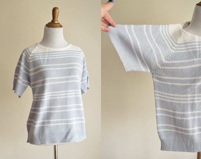 Pale Blue Striped Sweater Tee