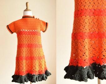 Orange, Red and Black Crochet Mod Mini Dress - Robert Car for Murrell 1960's Designer Made in Portugal