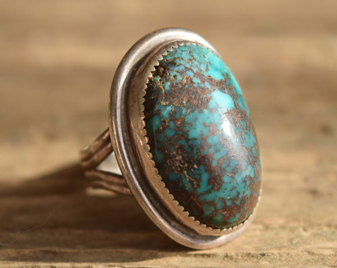 Large Oval Dark Turquoise Ring Size 9.5
