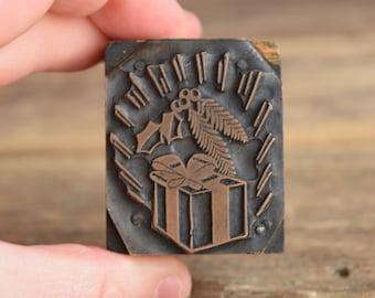 Holiday Printing Press Block - Christmas stamp