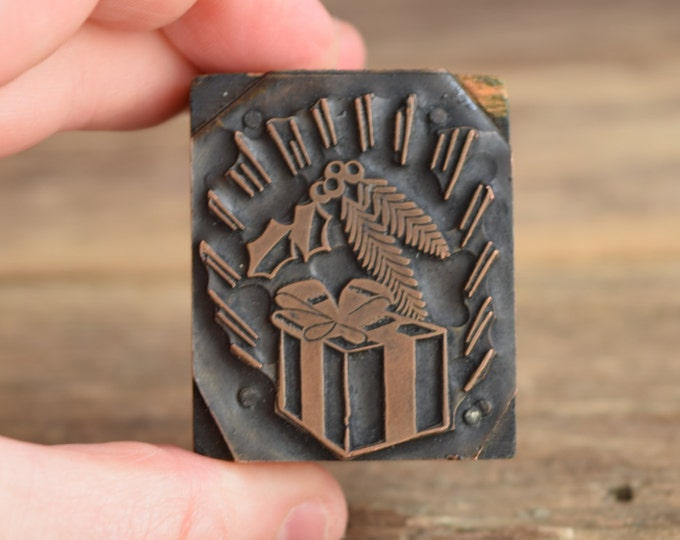 Holiday Printing Press Block - Christmas stamp