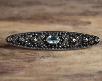 Something Blue - Long Marcasite Sterling silver brooch - wedding brooch