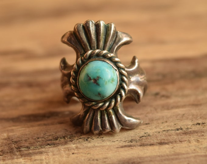 Sand Cast Turquoise Ring - Size 6 Native American Vintage
