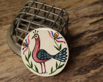 Vintage Brooch - Peacock hand painted ceramic brooch