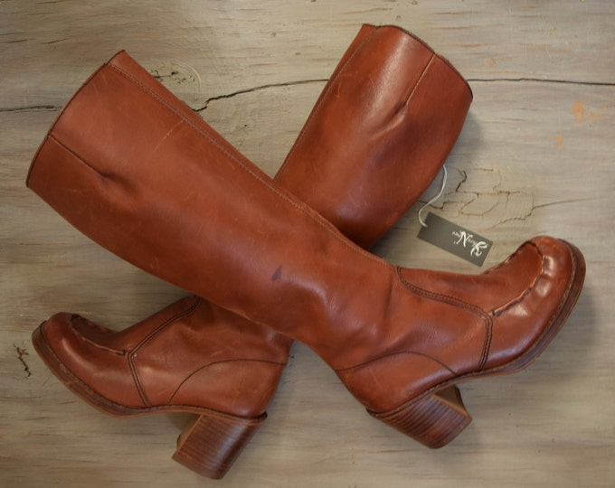 Tall Brown Boots Size 7 - Vintage Heeled square toed boots