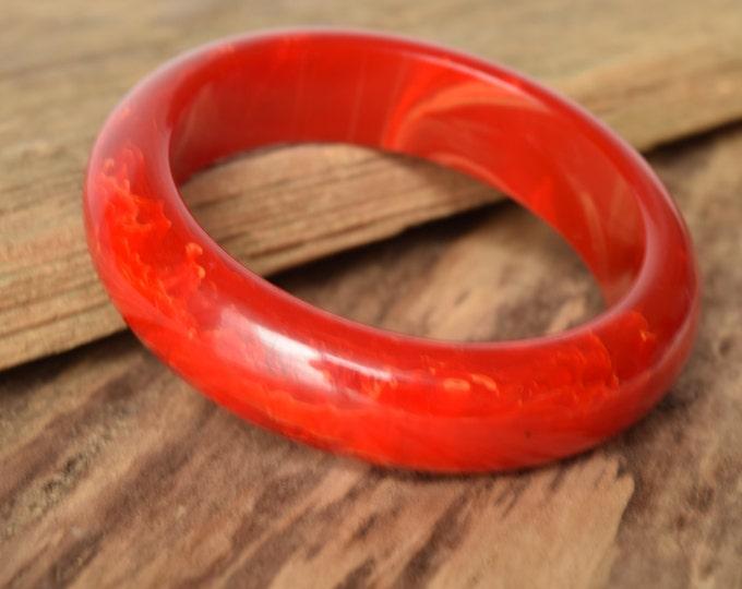 Marbled Red Bakelite Bangle