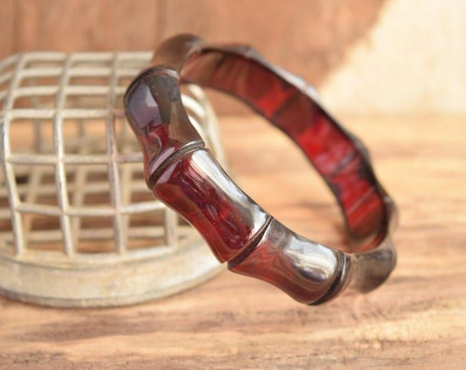 Red Bamboo Bakelite - Carved Prystal Bakelite - Rare Translucent Bakelite