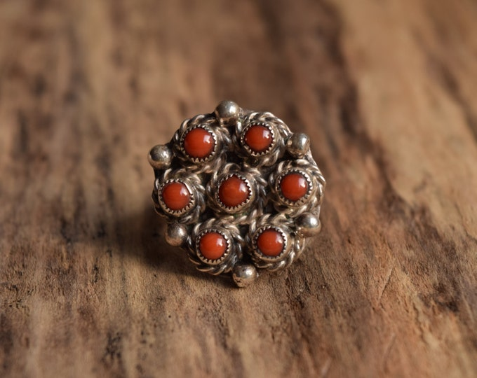 Size 5 - Coral Native American pinky ring - Vintage Native Ring - Native bohochic ring - southwestern - Sterling Silver ring red stone ring