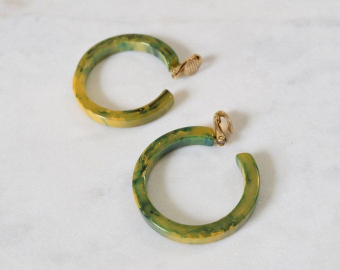 Green Bakelite Hoop Clip Earrings  - Blue and Yellow