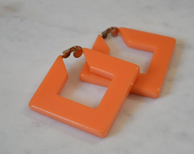 Orange Square Bakelite Hoop Clip Earrings