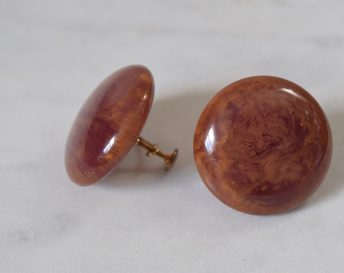 Large Purple Bakelite Screw Back Earrings