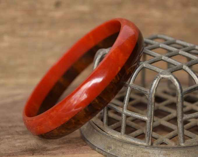Bakelite - Red and Brown Laminate bakelite bracelet