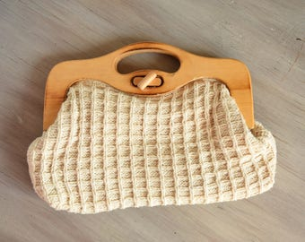 Knit Handbag - neutral vintage clutch - wooden handle bag - Spring clutch - summer clutch - casual everyday bag