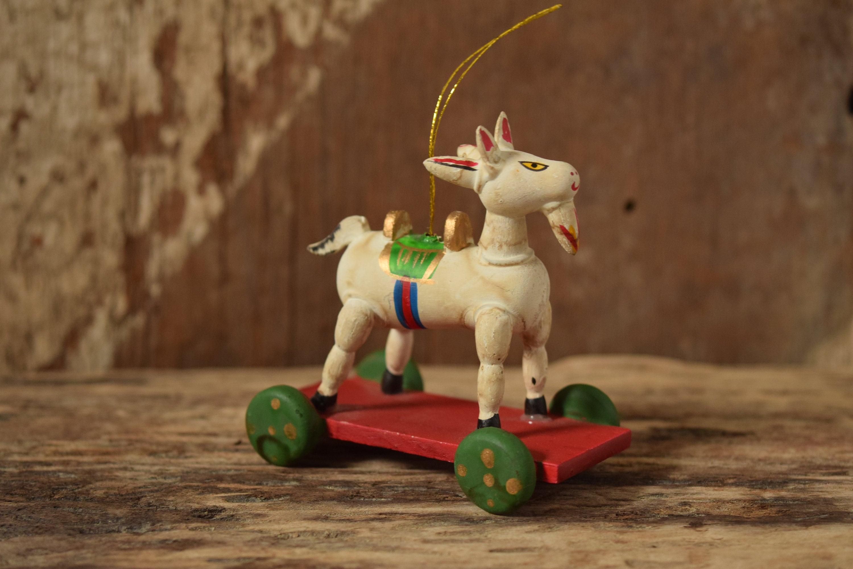 wood goat christmas ornament