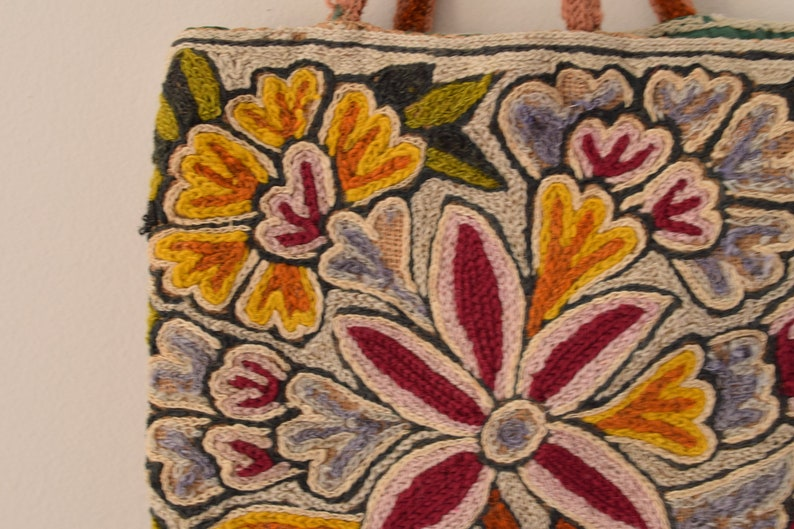 Embroidered Floral Tote