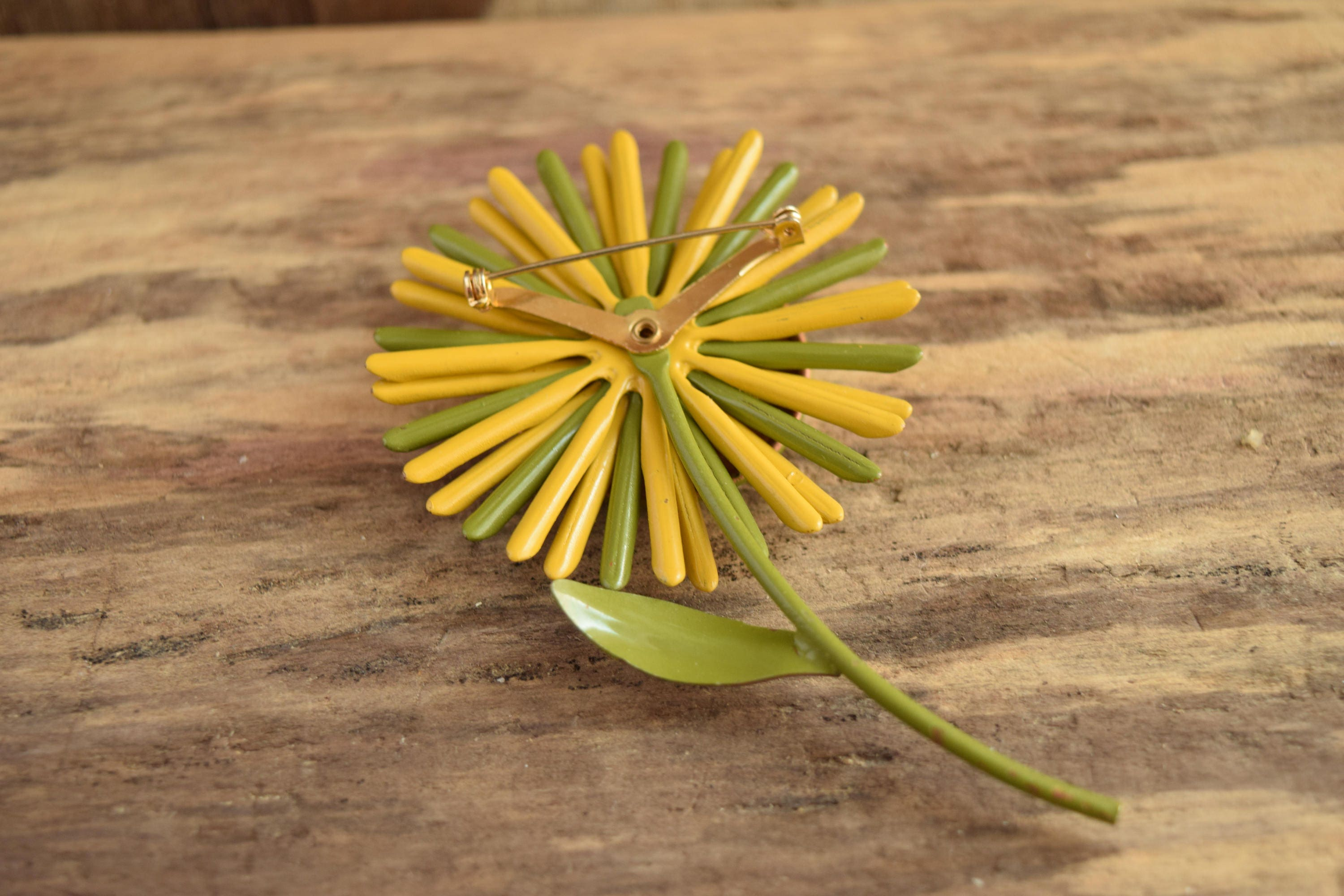 Green And Yellow Flower Brooch Metal Vintage Flower Pin Large