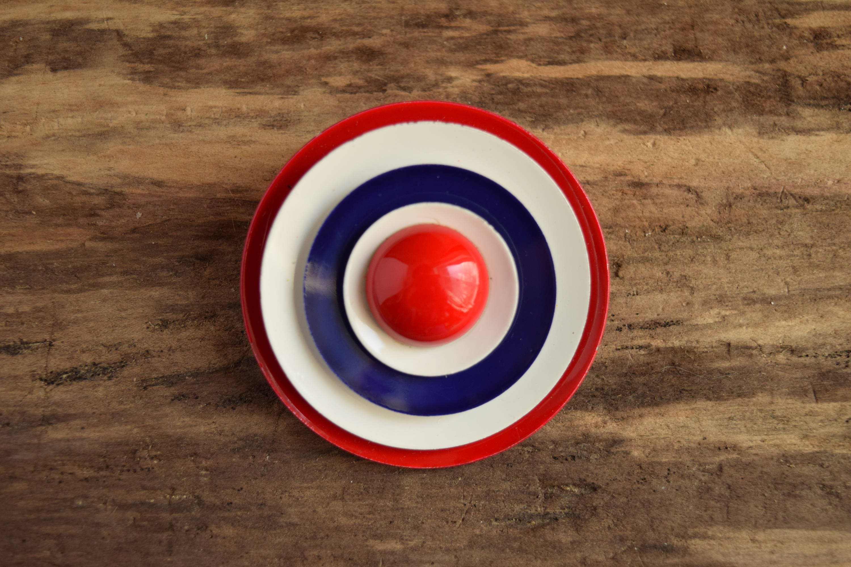 c05691860db Mod Circle Brooch - Red White and Blue Target Pin - Metal Vintage ...