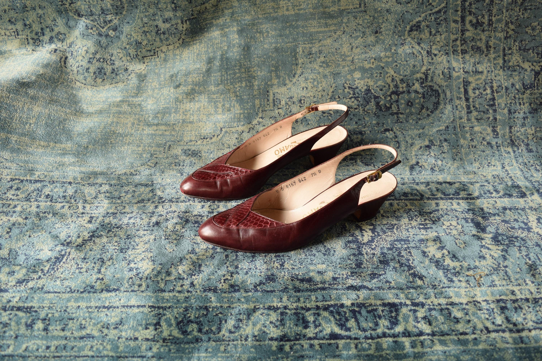 0d5c7a1beeb Salvatore Ferragamo Size 7 1 2 B - Wine Red Sling Back Heels - Low ...