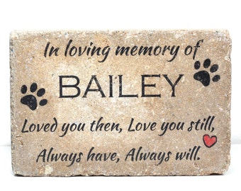 Pet Memorial Stone. 6x9 CUSTOM Burial Marker. Tumbled (Concrete) Paver Stone. Outdoor or Indoor Dog or Cat Memorial Stone. Pet Marker