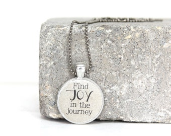 Find Joy in the journey- Handcrafted Concrete Necklace in Copper or Silver on 24 inch Petite Ball Chain. Ready to Gift. Free Shipping in USA