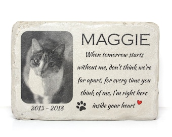 6x9 Pet Memorial Stone with Picture for Indoors or Out. PERSONALIZED Pet Memorial Gift. Concrete Pet Grave Marker. Custom Animal Memorial.