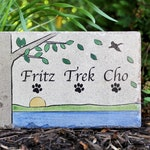 Personalized Pet Memorial Stone. 6x9 CUSTOM Burial Marker. Tumbled (Concrete) Paver Stone. Outdoor or Indoor Dog or Cat Memorial Stone