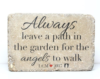 Personalized Angel Memorial. 6x9 Tumbled Concrete Rustic Garden Stone For  Memorial Garden or Sympathy Gift. Outdoor  Indoor with Free Pads b785f5b07fe