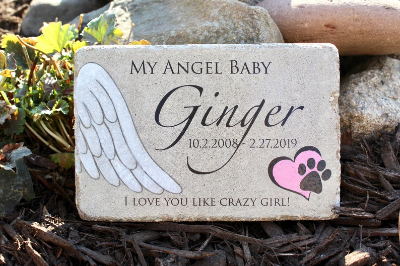 Pet Memorial Stone. 6x9 CUSTOM Burial Marker. Tumbled image 0