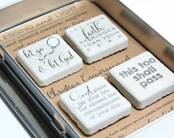 CHRISTIAN Encouragement Collection. Rustic Refrigerator Magnets. 1.25 x 1.25. Concrete. this too shall pass. let go let God