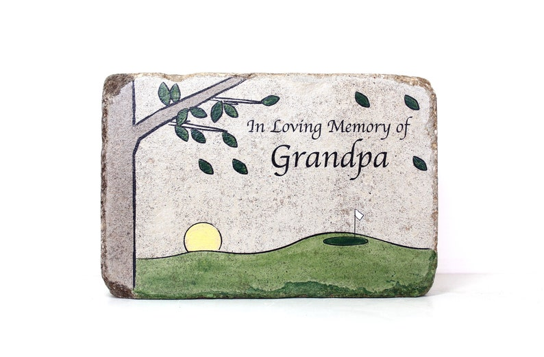 Golf Memorial Stone. 6x9 Concrete PERSONALIZED Memorial Gift. image 0